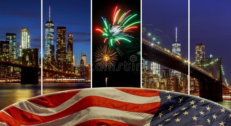 Amerikanska flaggan som flyger horisontsiktsNew York City manhattan en i stadens centrum horisont på natten arkivfoto
