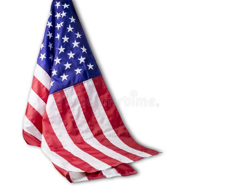 Amerikanska flaggan som isoleras på vit bakgrund med den snabba banan fotografering för bildbyråer