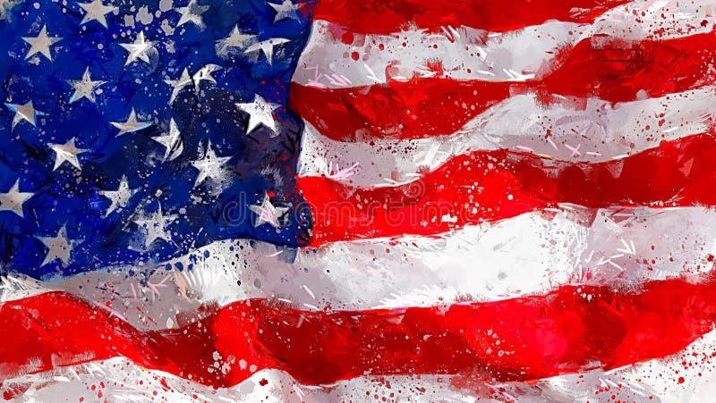 Amerikanska flaggan som vinkar abstrakt konst royaltyfri illustrationer