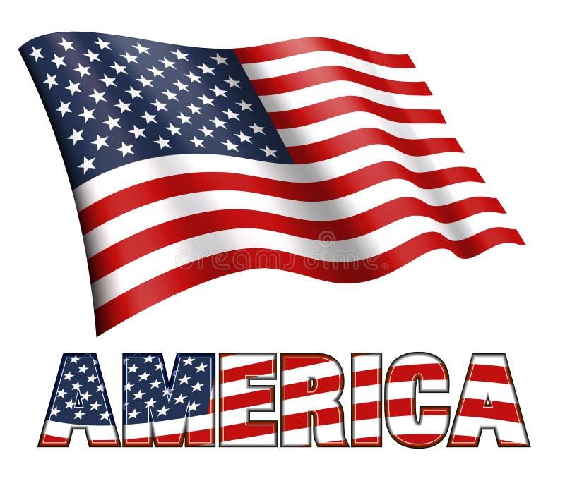 Amerikanska flaggan som vinkar med AMERIKA och stjärnor och band stock illustrationer