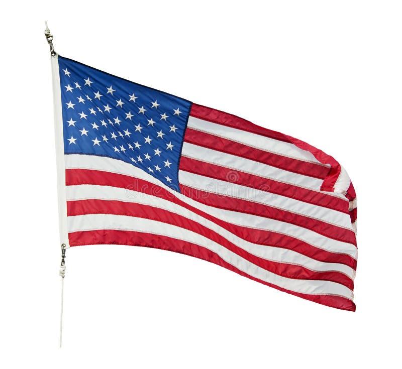 Amerikanska flaggan som vinkar på vit bakgrund royaltyfria bilder