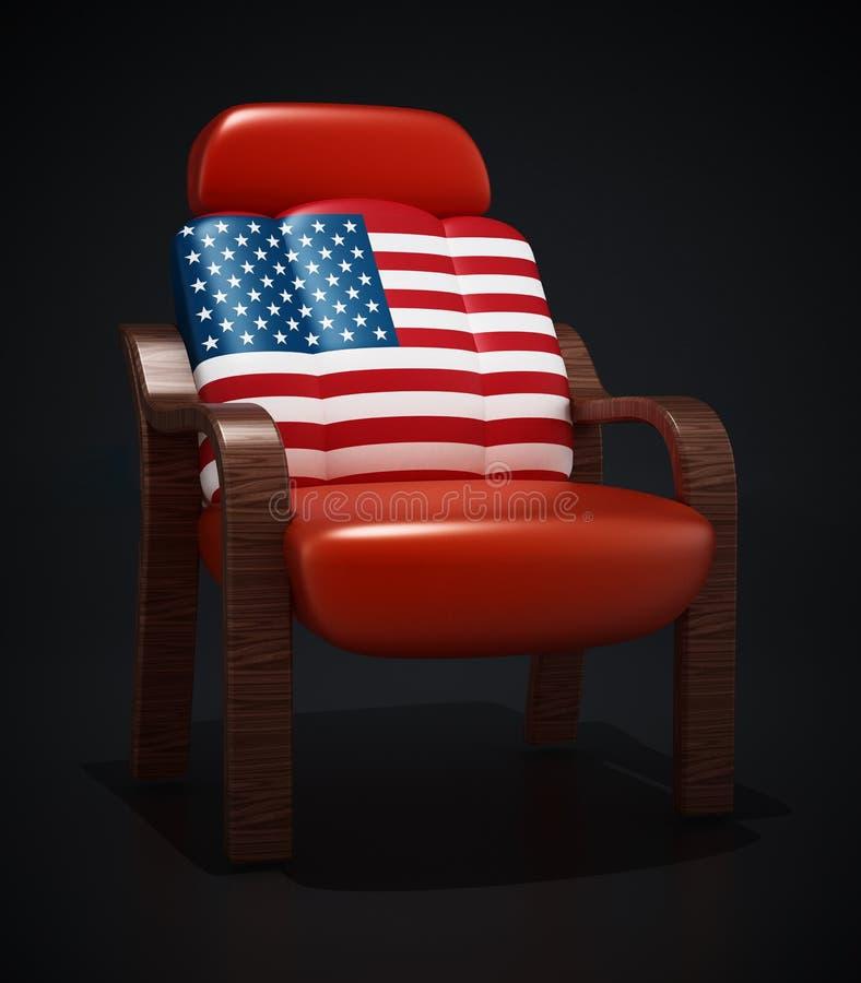 Amerikanska flaggan texturerad lyx piskar stol illustration 3d royaltyfri illustrationer