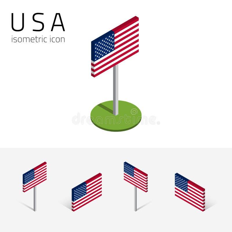 Amerikanska flaggan USA, vektoruppsättning av isometriska symboler 3D royaltyfri illustrationer