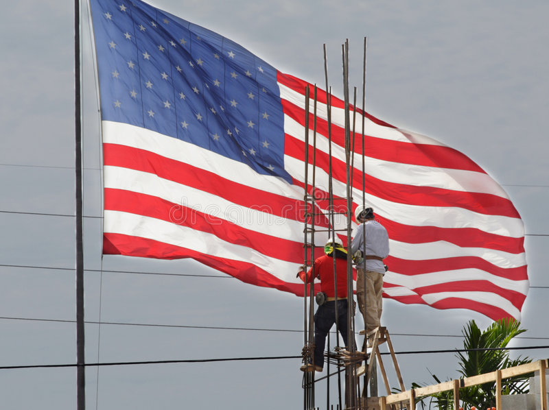 amerikanska flagganarbetare arkivfoton