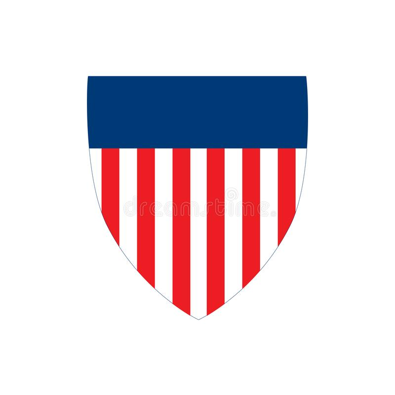 Amerikanska flagganemblemsköld med band, självständighetsdagenbegrepp, vektorillustration som isoleras på vit bakgrund royaltyfri illustrationer