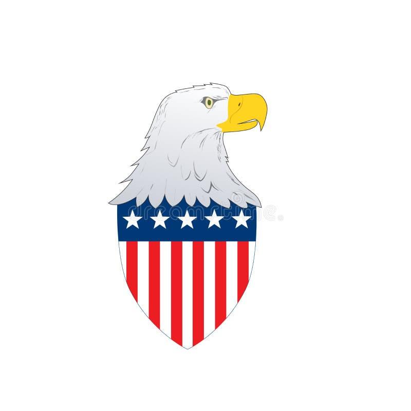 Amerikanska flagganemblemskölden med örnen som vänder mot sidan med amerikanska stjärnor och band, sjunker på isolerad vit bakgru royaltyfri illustrationer