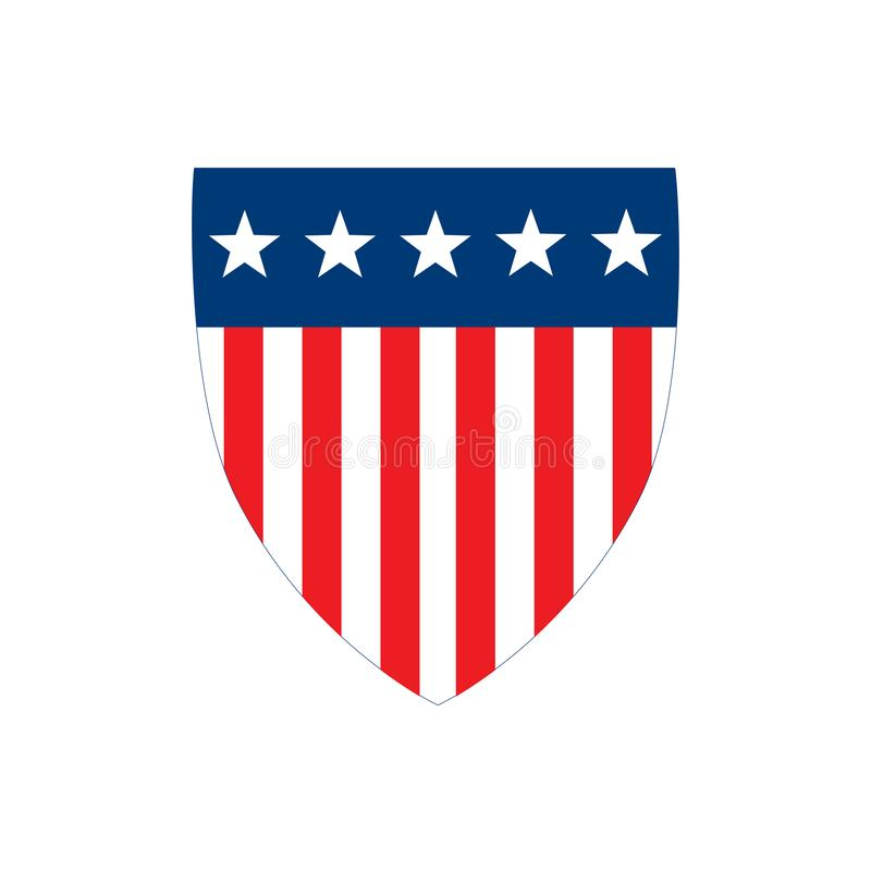 Amerikanska flagganemblemsk?ld med band och stj?rnor, sj?lvst?ndighetsdagenbegrepp, vektorillustration som isoleras p? vit bakgru stock illustrationer