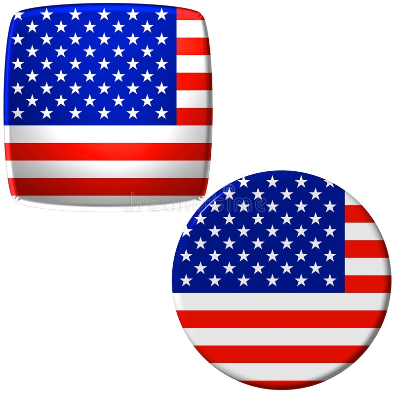 amerikanska flagganetiketter vektor illustrationer