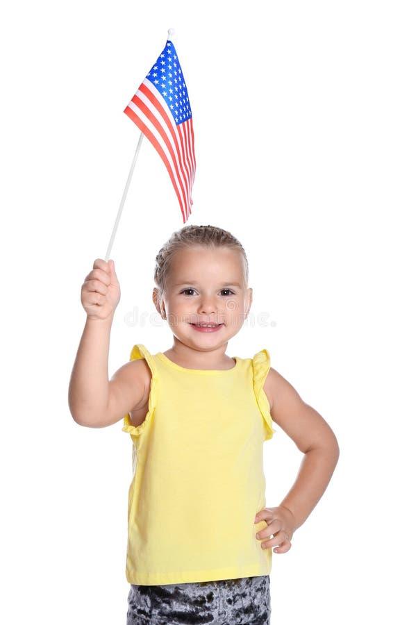 amerikanska flagganflicka little royaltyfri fotografi