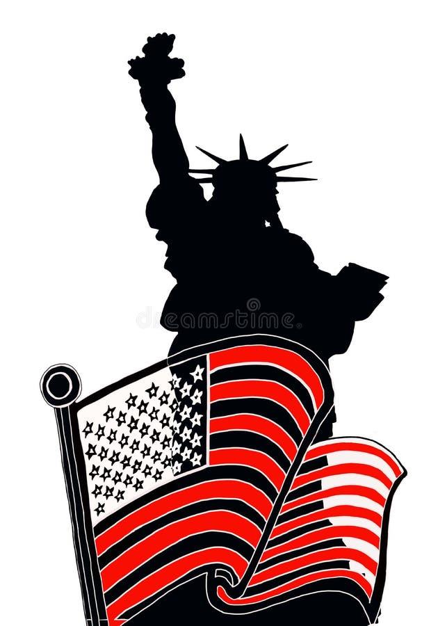 amerikanska flagganfrihetstaty royaltyfri illustrationer