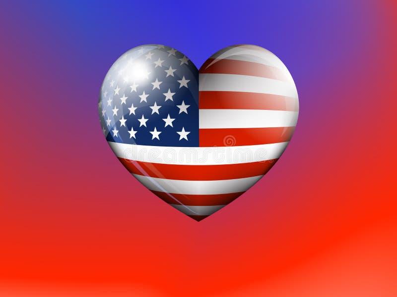 Amerikanska flagganhjärtabakgrund, stjärnorna och band som en symbol på ett patriotiskt rött och blått royaltyfri illustrationer