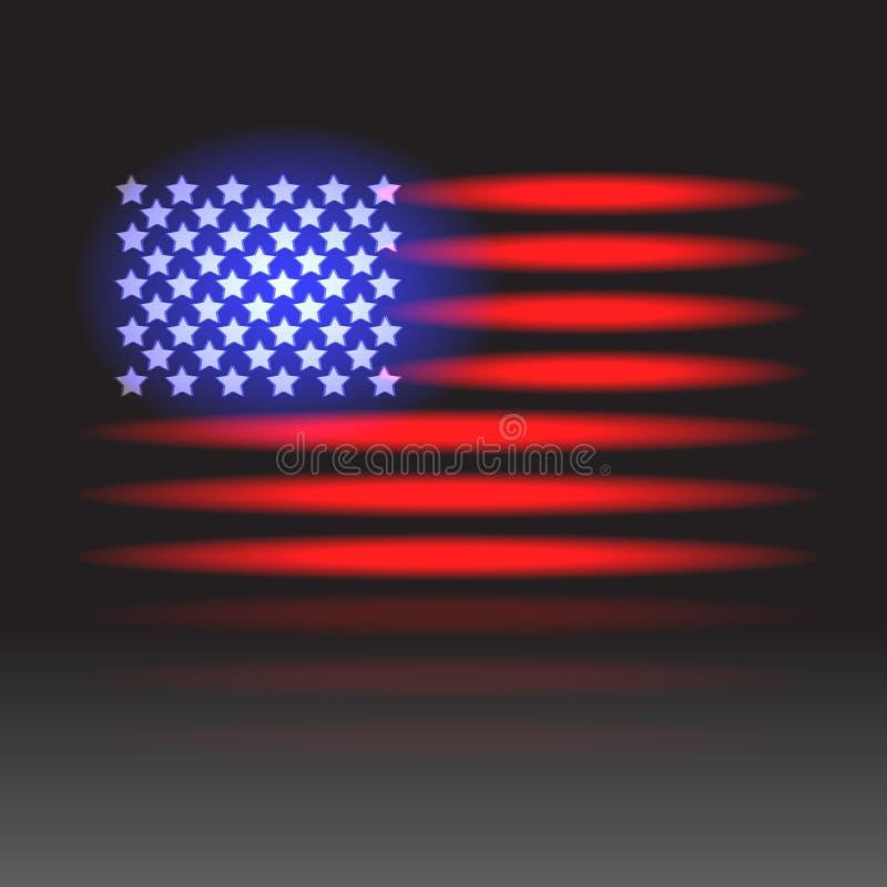 amerikanska flagganneon vektor illustrationer