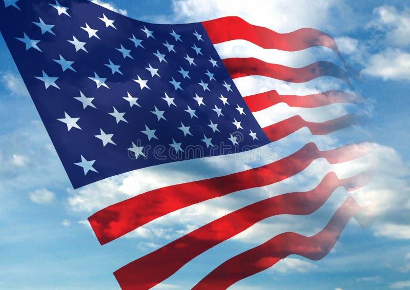 amerikanska flagganvåg stock illustrationer