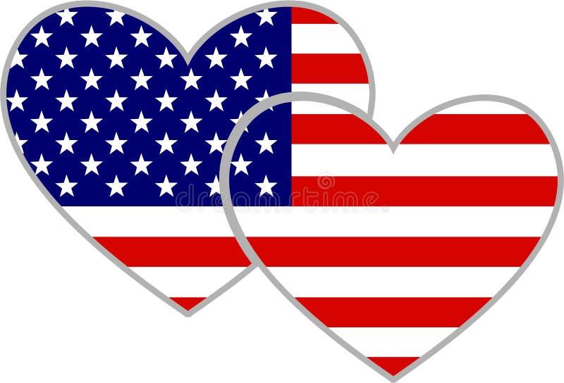 amerikanska hjärtor stock illustrationer