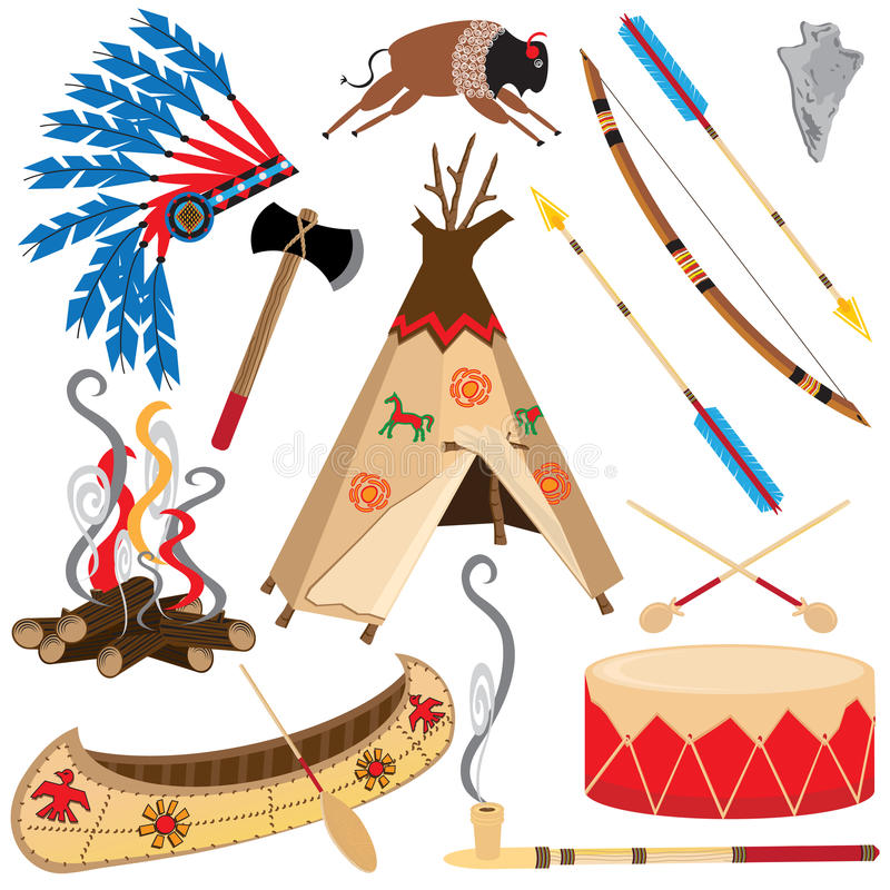 amerikanska indiska clipartsymboler stock illustrationer