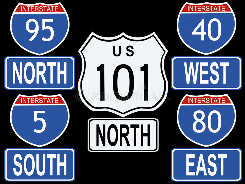 amerikanska interstate tecken stock illustrationer