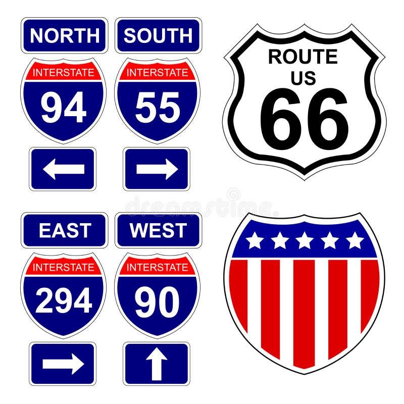 amerikanska interstate tecken stock illustrationer