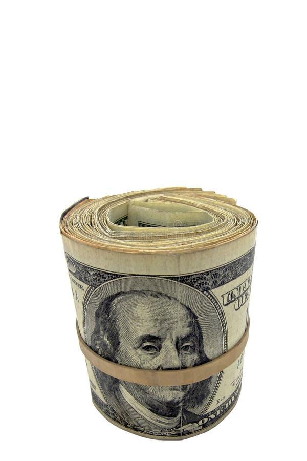 amerikanska kontant dollarpengar rullar oss fotografering för bildbyråer