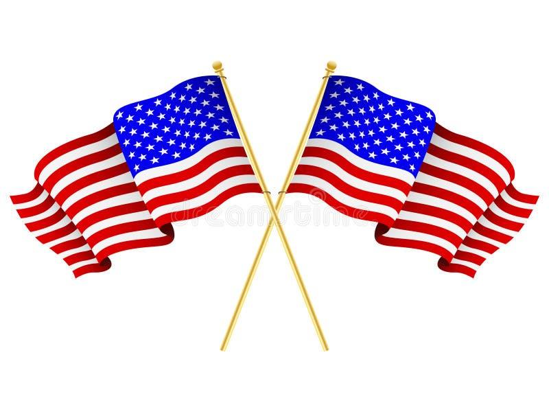 amerikanska korsade flaggor stock illustrationer