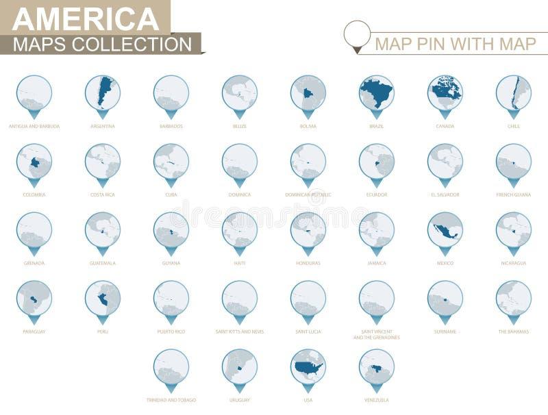 Amerikanska länder specificerade översiktssamlingen, blått översiktsstift med landsöversikten stock illustrationer