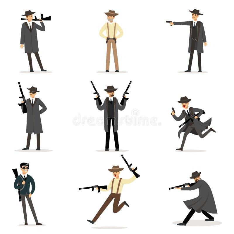 Amerikanska maffiafolkhopmedlemmar av 30-taluppsättningen av den brottsliga gangster Characters för tecknad film royaltyfri illustrationer