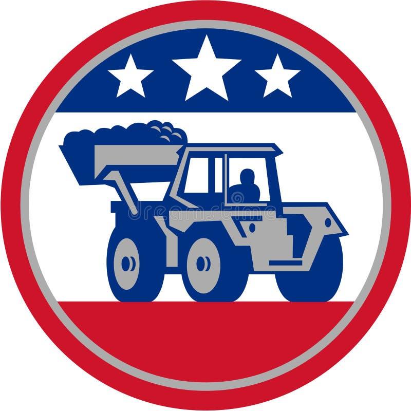 Amerikanska mekaniska Digger Excavator Retro vektor illustrationer