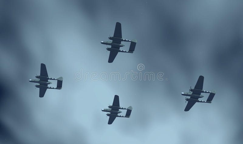Amerikanska nattkämpeflygplan av världskrig II vektor illustrationer