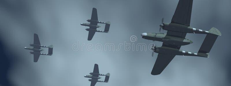 Amerikanska nattkämpeflygplan av världskrig II stock illustrationer