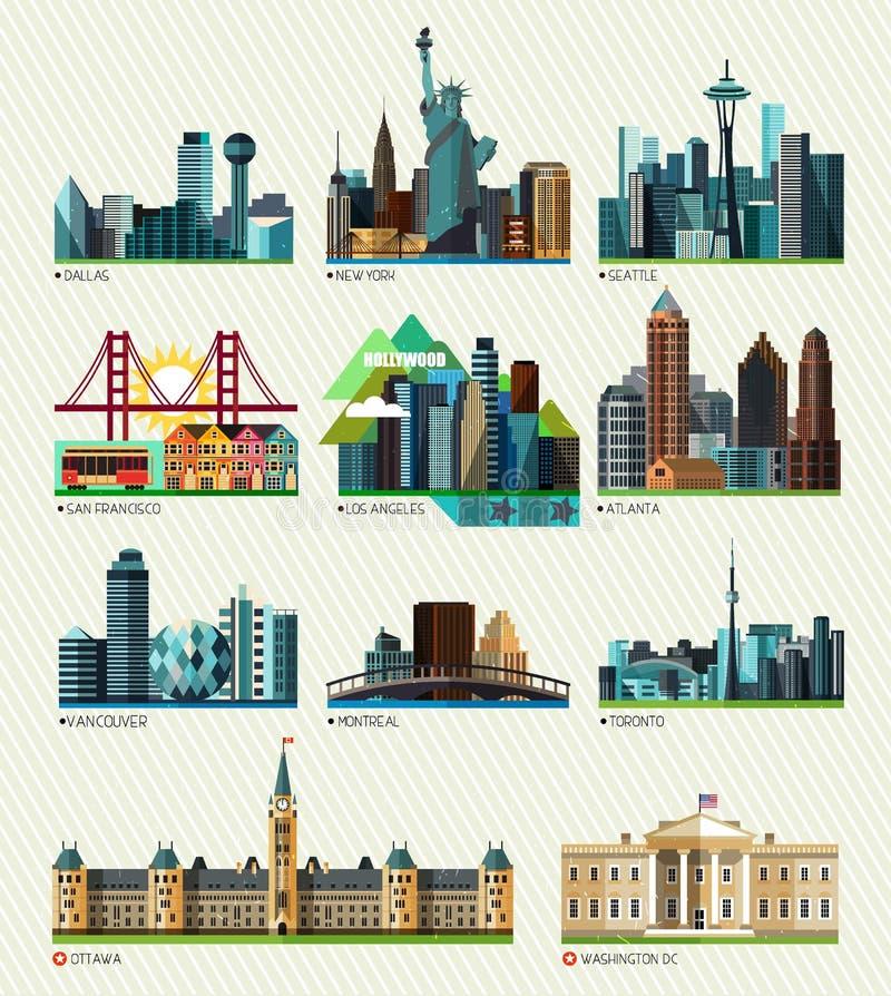 Amerikanska och kanadensiska städer också vektor för coreldrawillustration vektor illustrationer