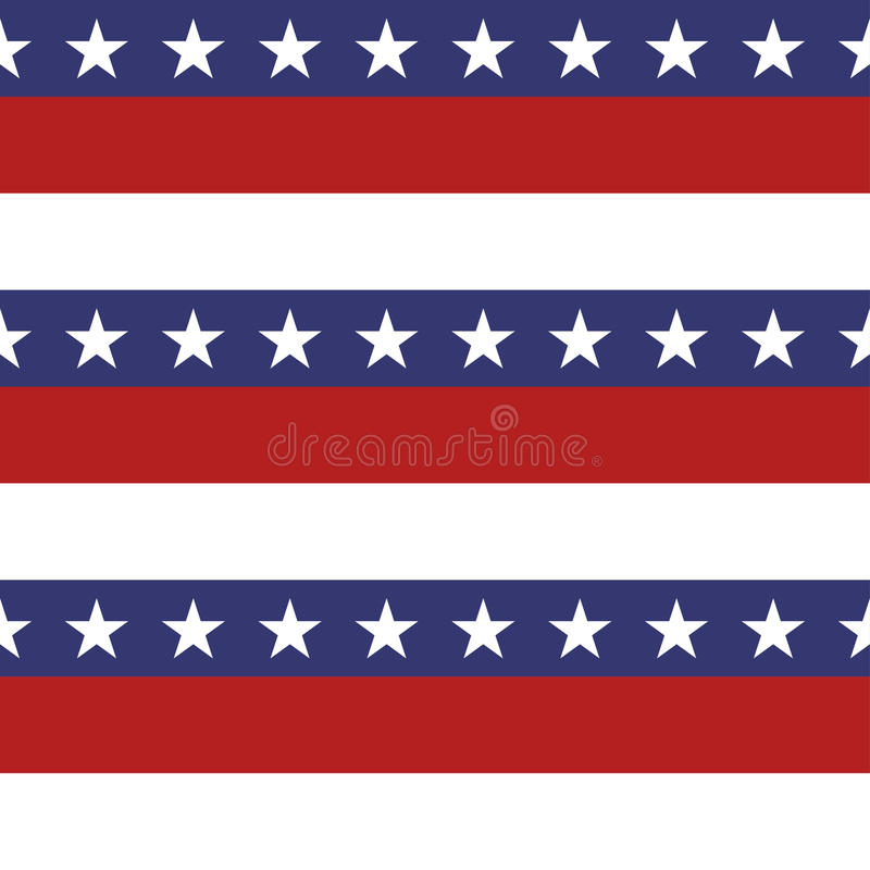 Amerikanska patriotiska stjärnor och sömlös modell för band i ljus rött, blått och vitt stock illustrationer