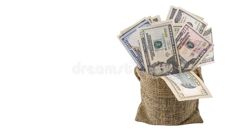 Amerikanska pengar 5,10, 20, 50, ny räkning för dollar 100 i påsen som isoleras på den snabba banan för vit bakgrund HögUSA-sedel royaltyfri bild