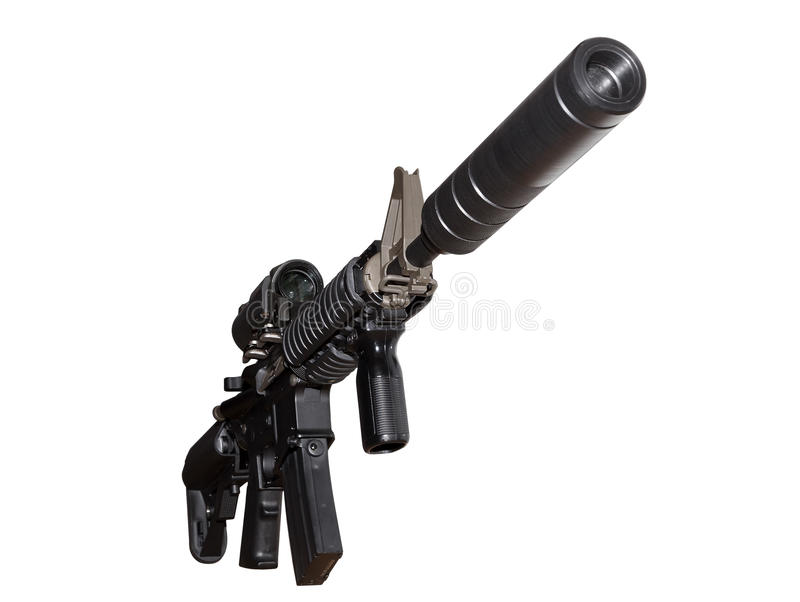 Amerikanska skjutvapen för anfall som M4 isoleras på vit bakgrund, slut upp royaltyfri foto