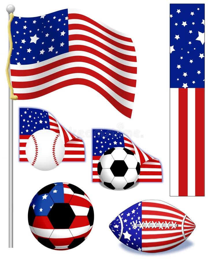 amerikanska sportar royaltyfri illustrationer
