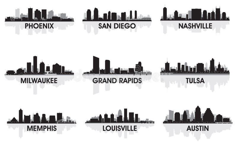 amerikanska städer royaltyfri illustrationer