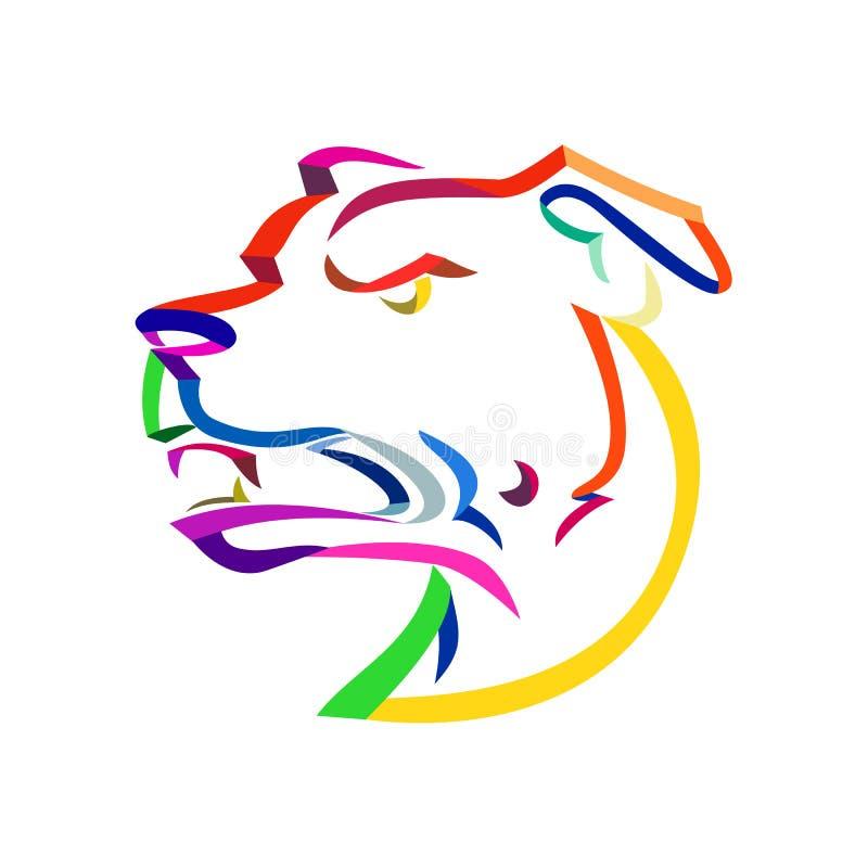 Amerikanska Staffordshire Terrier bandkonst royaltyfri illustrationer