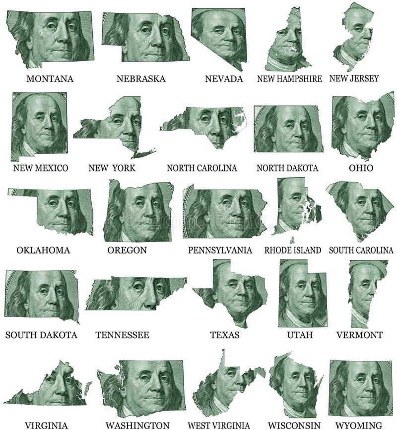 Amerikanska stater från M till W royaltyfri illustrationer