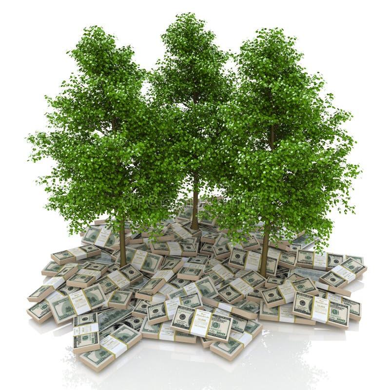 amerikanska stora dollar pengarstapel dollar och träd finanser stock illustrationer