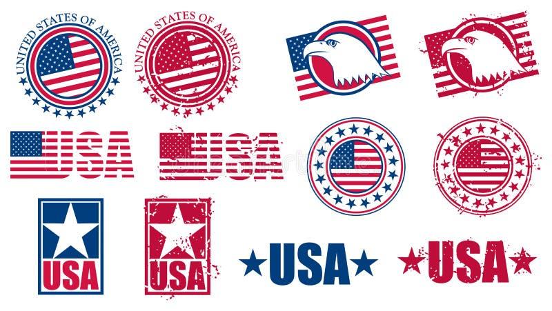 Amerikanska USA-flaggastämplar royaltyfri illustrationer