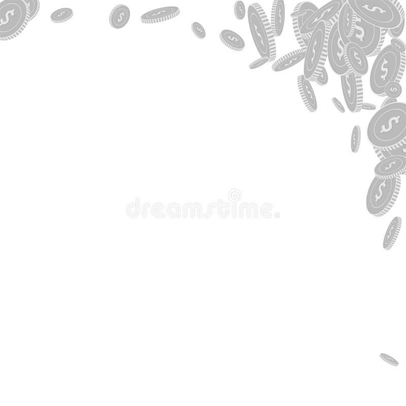 Amerikanskt falla f?r dollarmynt Spritt svart och royaltyfri illustrationer