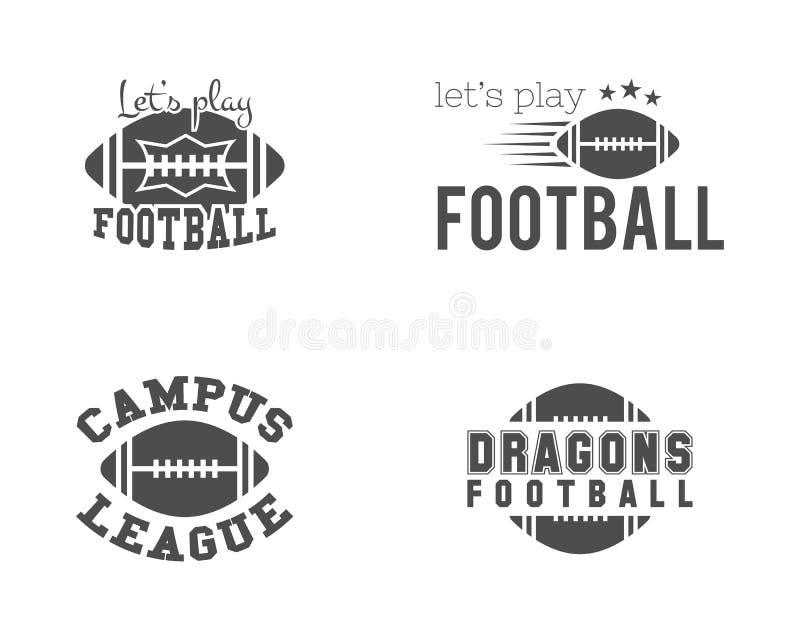 Amerikanskt fotbollslag för högskola, mästerskap stock illustrationer
