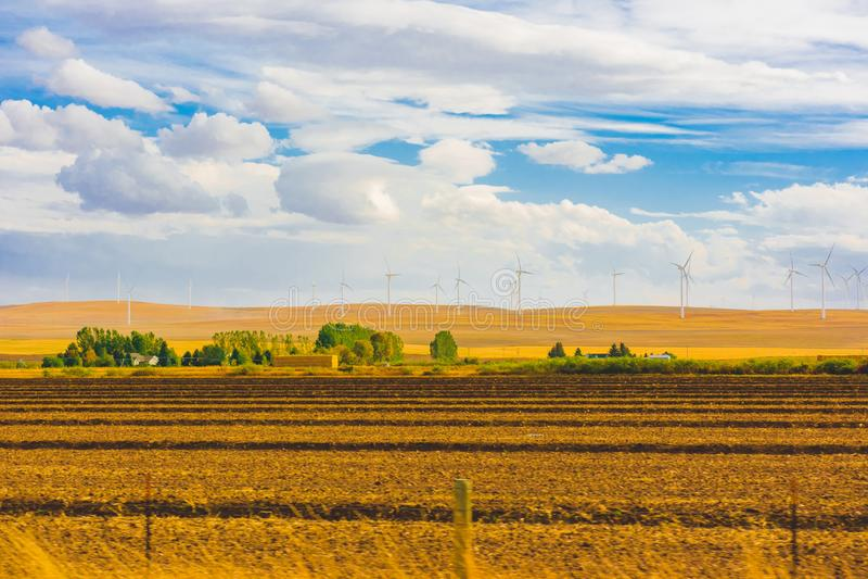 Amerikanskt herde- landskap, vindturbin royaltyfria foton