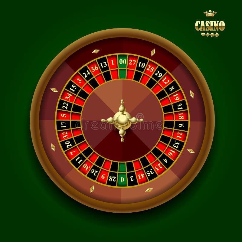 Amerikanskt kasinorouletthjul på mörker - grön bakgrund stock illustrationer