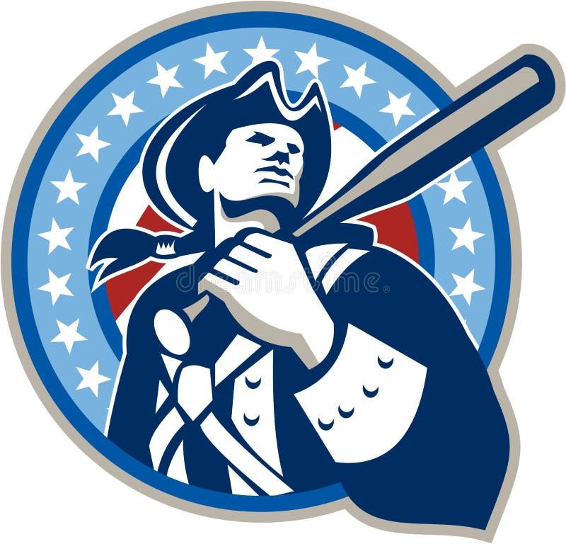 Amerikanskt Retro patriotbaseballslagträ royaltyfri illustrationer