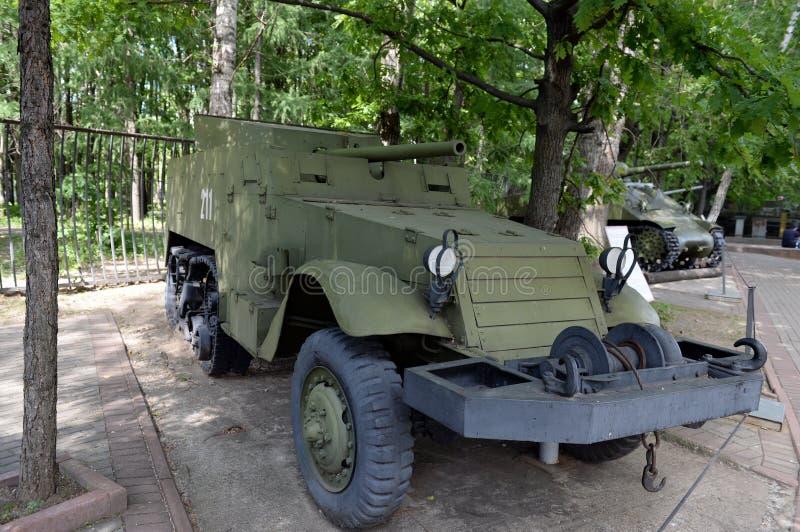 Amerikanskt självgående artilleri SU-57 i museet av militär utrustning på den Poklonnaya kullen i Moskva arkivbilder