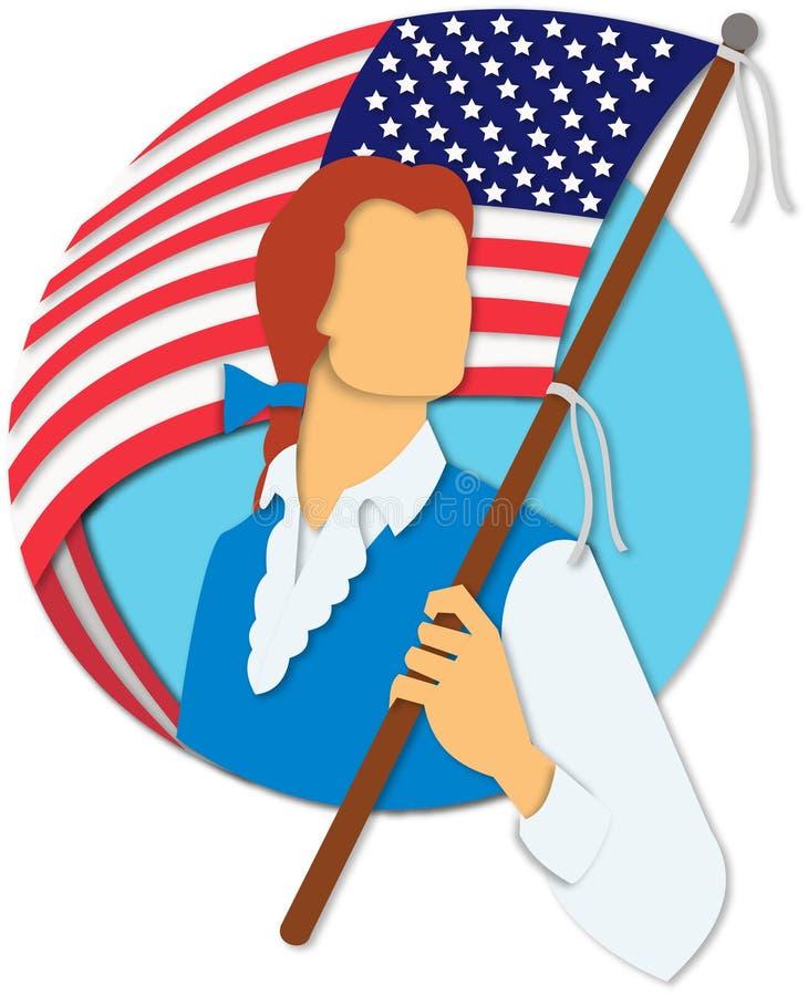 Amerikanskt snitt för papper för patriotinnehavflagga royaltyfri illustrationer
