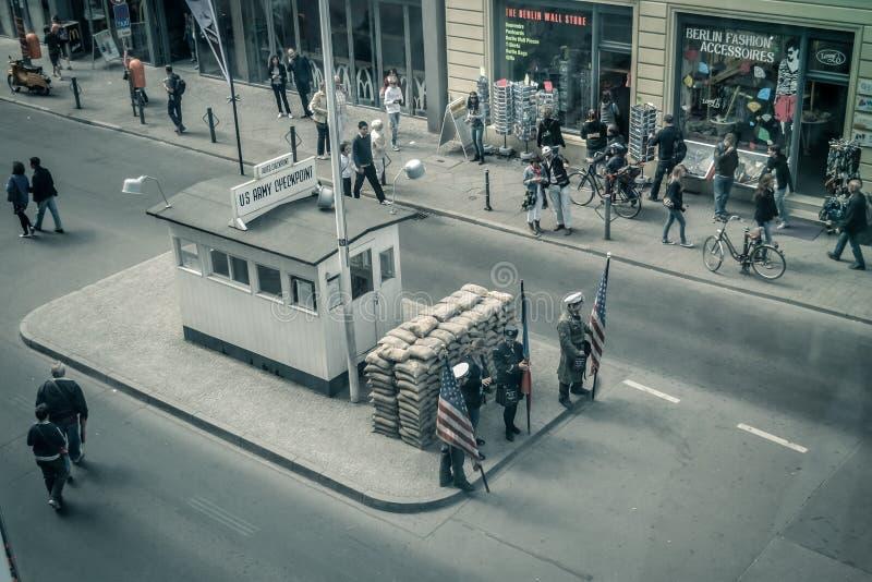 Amerikanskt testpunkt i Berlin royaltyfria foton