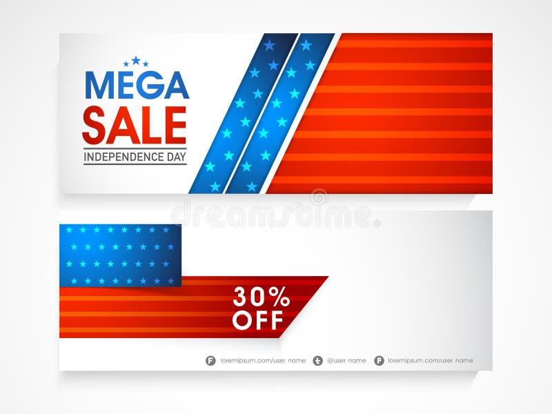 Amerikanskt titelrad eller baner för självständighetsdagenberömrengöringsduk stock illustrationer