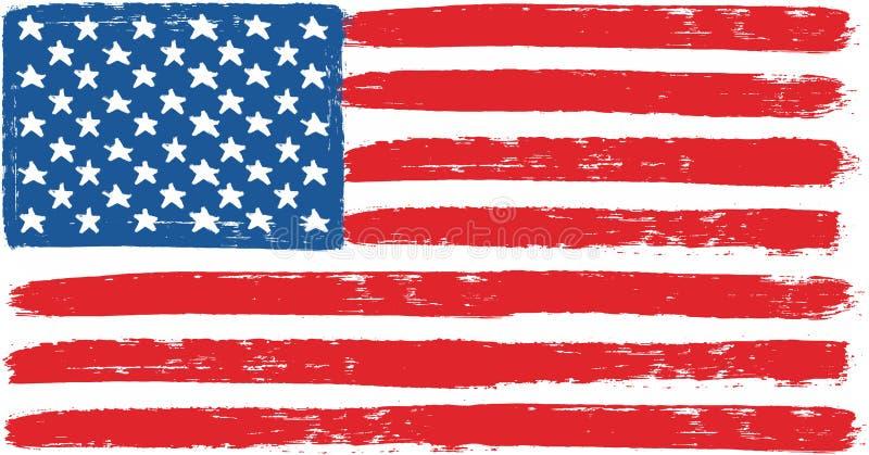 Amerikas förenta stater eller hand för USA flaggavektor som målas med den rundade borsten royaltyfri illustrationer