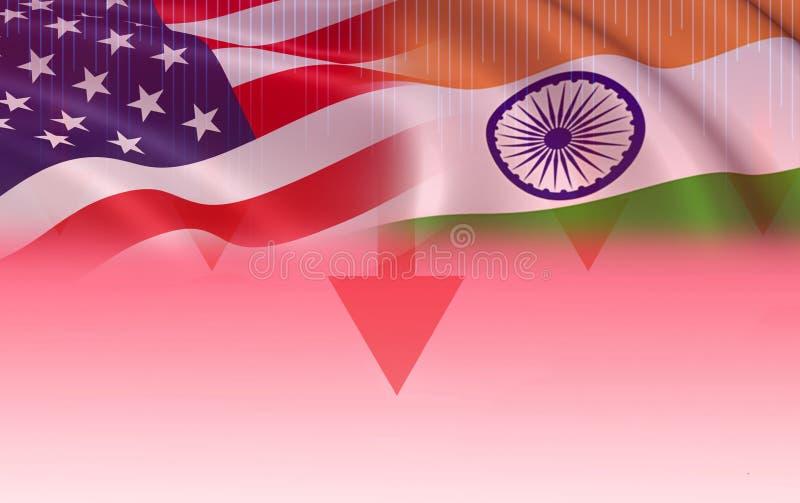 Amerikas förenta stater för export för ekonomi för USA och Indien handelkrig royaltyfri illustrationer