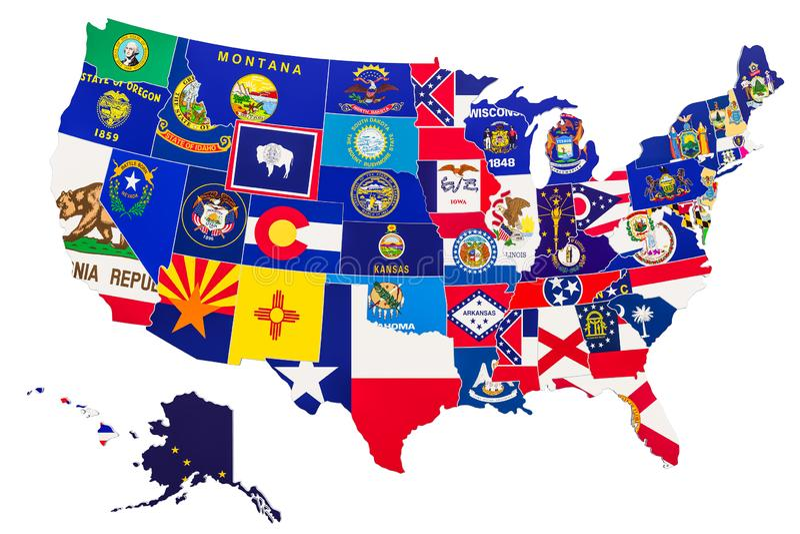 Amerikas förenta stater kartlägger med statliga flaggor, tolkningen 3D stock illustrationer